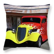 Ford Flaming Hot Rod Throw Pillow