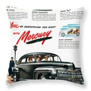 Ford Mercury Ad, 1946 Throw Pillow