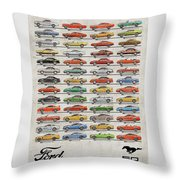 Ford Mustang Timeline History 50 Years Throw Pillow