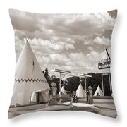 Ford Roadster At An Indian Gas Station Sepia Throw Pillow
