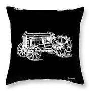 Ford Tractor Patent 1919 Black Throw Pillow