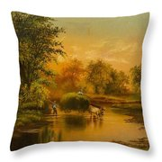 Fording The Stream Throw Pillow