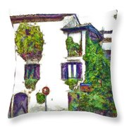 Foreshortening Of House Covered With Climbing Plants Throw Pillow