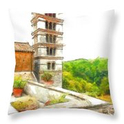 Foreshortening With Bell Tower And Wood Throw Pillow