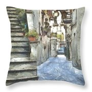 Foreshortening With Stairs Throw Pillow