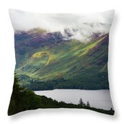 Forest And Lake Derwent Water Drama Throw Pillow