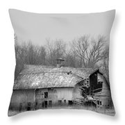 Forest Avenue Barn Bw Throw Pillow