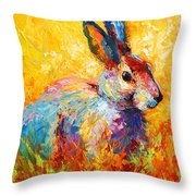 Forest Bunny Throw Pillow by Marion Rose