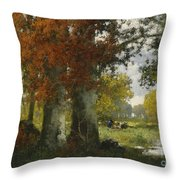 Forest Clearing With Women Gathering Brushwood Throw Pillow