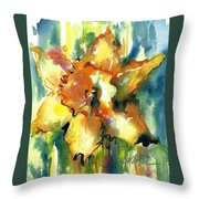 Forest Daffodil In Rain Throw Pillow