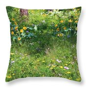 Forest Flowers Landscape Throw Pillow
