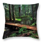 Forest Foot Bridge Throw Pillow