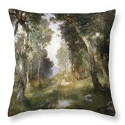 Forest Glade Throw Pillow by Thomas Moran
