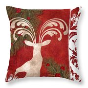 Forest Holiday Christmas Deer Throw Pillow