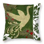Forest Holiday Christmas Goose Throw Pillow