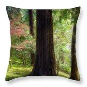 Forest In Portland Japanese Garden Throw Pillow