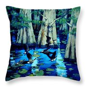 Forest In Water Throw Pillow