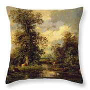 Forest Landscape 1840 Throw Pillow