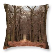 Forest Lane Near Maarsbergen Throw Pillow