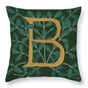 Forest Leaves Letter B Throw Pillow