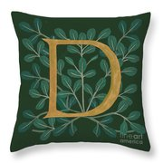 Forest Leaves Letter D Throw Pillow