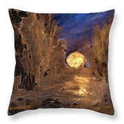 Forest Moonrise Glow Throw Pillow