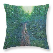 Forest Of Green And Blue Throw Pillow
