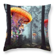 Forest Of Jellyfish Worlds Throw Pillow