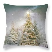 Forest Of Trees In Wintergreens Throw Pillow