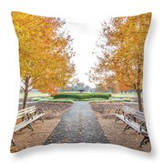Forest Park Benches Throw Pillow