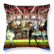 Forest Park Carousel Throw Pillow
