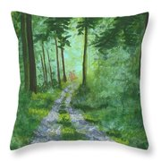 Forest Path 2 Throw Pillow