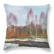 Forest River In Winter Throw Pillow