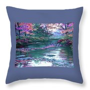 Forest River Scene. L A Throw Pillow