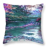 Forest River Scene. L B Throw Pillow