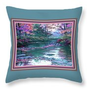 Forest River Scene. L B With Alt. Decorative Ornate Printed Frame. No. 1 Throw Pillow