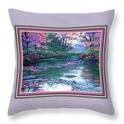Forest River Scene. L B With Decorative Ornate Printed Frame. Throw Pillow