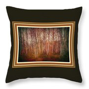 Forest Scene. L A With Decorative Ornate Printed Frame. Throw Pillow