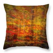 Colorful Forest, Smoky Mountains, Tennessee Throw Pillow
