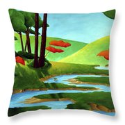 Forest Stream - Through The Forest Series Throw Pillow