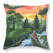 Forest Sunset Cascade Throw Pillow