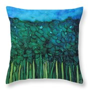 Forest Under The Full Moon - Abstract Throw Pillow