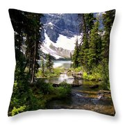 Forest View To Mountain Lake Throw Pillow by Greg Hammond