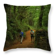 Forest Walkers, El Camino, Spain Throw Pillow