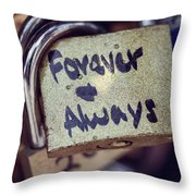 Forever And Always Paris Love Lock Throw Pillow