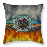 Forged In Fire - Vintage American Lafrance - Oil Throw Pillow