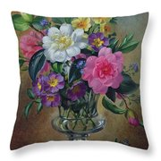 Forget Me Nots And Primulas In Glass Vase Throw Pillow