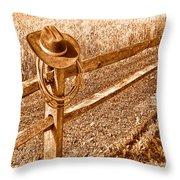 Forgetting Texas - Sepia Throw Pillow