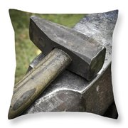 Forging Hammer On The Anvil Throw Pillow