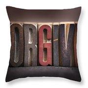 Forgive - Antique Letterpress Letters Throw Pillow